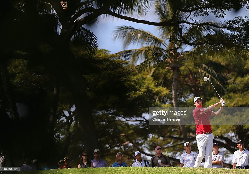 Jeff Overton hits a tee shot on the second hole during the final round of the Sony Open in Hawaii at Waialae Country Club on January 13, 2013 in Honolulu, Hawaii.