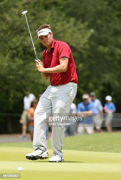Jeff Overton putts on the 1st during the Final Round of the Zurich Classic of New Orleans at TPC Louisiana on April 27 2014 in Avondale Louisiana
