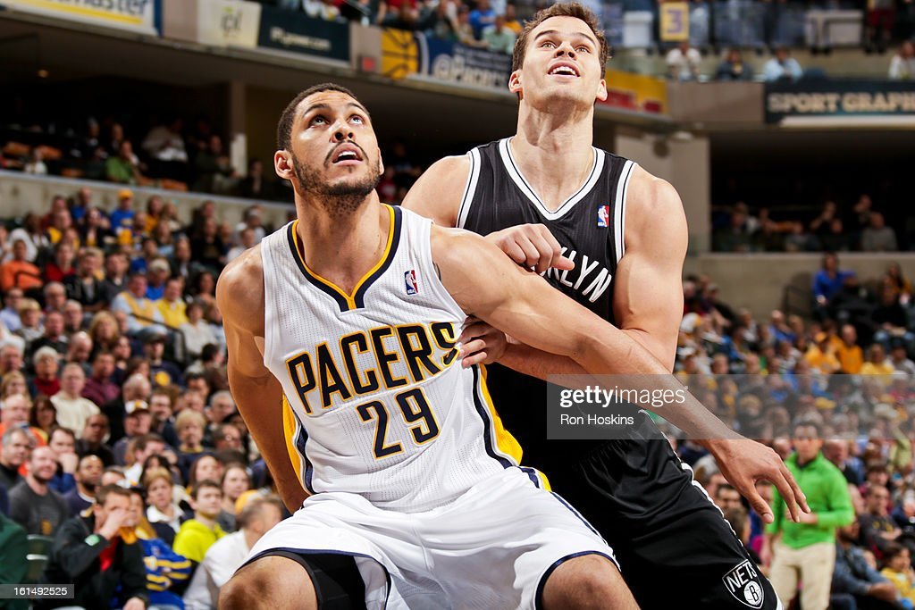 Jeff Pendergraph #29 of the Indiana Pacers battles for rebound position against Kris Humphries #43 of the Brooklyn Nets on February 11, 2013 at Bankers Life Fieldhouse in Indianapolis, Indiana.