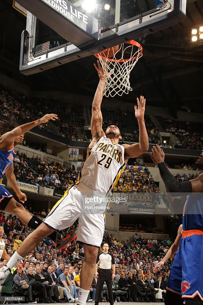 Jeff Pendergraph #29 of the Indiana Pacers goes to the basket during the game between the Indiana Pacers and the New York Knicks on February 20, 2013 at Bankers Life Fieldhouse in Indianapolis, Indiana.