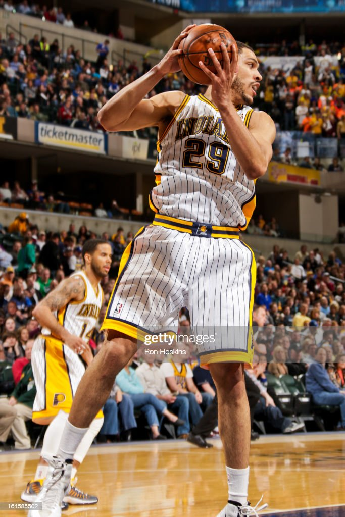 Jeff Pendergraph #29 of the Indiana Pacers grabs a rebound against the Milwaukee Bucks on March 22, 2013 at Bankers Life Fieldhouse in Indianapolis, Indiana.
