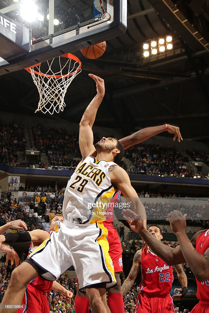 Jeff Pendergraph #29 of the Indiana Pacers puts up a shot against the Los Angeles Clippers on February 28, 2013 at Bankers Life Fieldhouse in Indianapolis, Indiana.