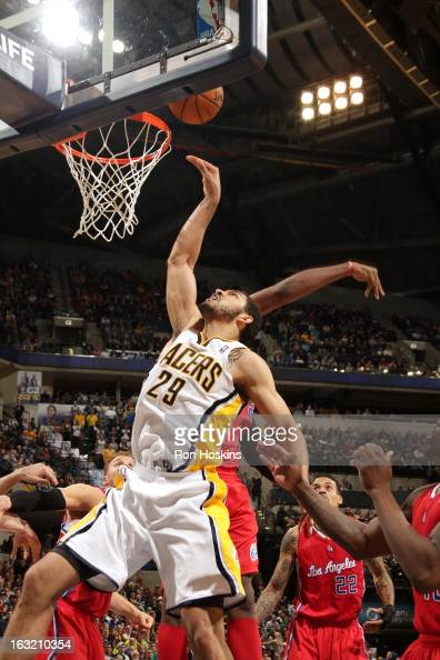 Jeff Pendergraph of the Indiana Pacers puts up a shot against the Los Angeles Clippers on February 28 2013 at Bankers Life Fieldhouse in Indianapolis...