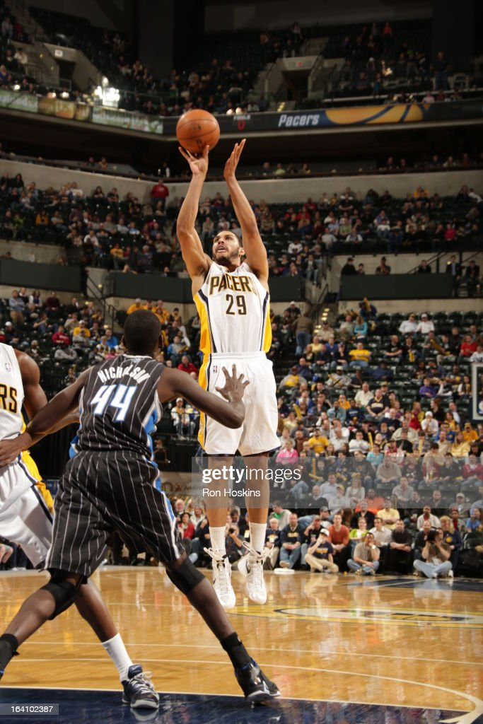 Jeff Pendergraph #29 of the Indiana Pacers shoots a jumper against the Orlando Magic on March 19, 2013 at Bankers Life Fieldhouse in Indianapolis, Indiana.