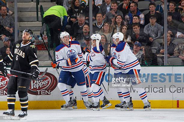 Jeff Petry Ales Hemsky and Ladislav Smid of the Edmonton Oilers celebrate a goal against the Dallas Stars at the American Airlines Center on February...