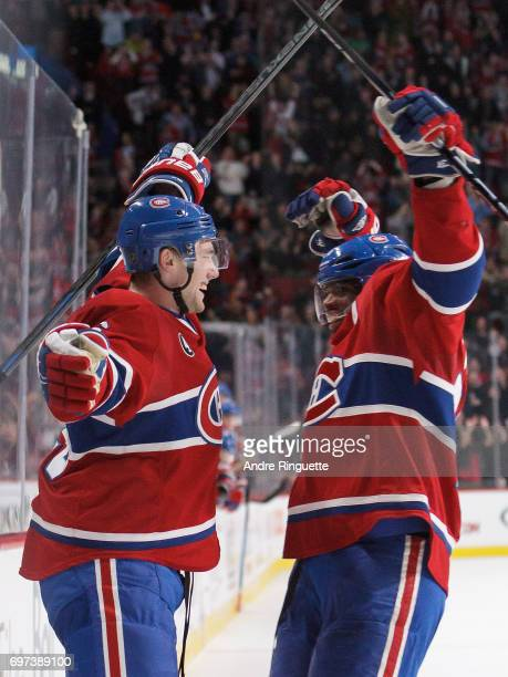 Jeff Petry and PK Subban of the Montreal Canadiens celebrate during the game against the Los Angeles Kings at the Bell Centre on December 12 2014 in...