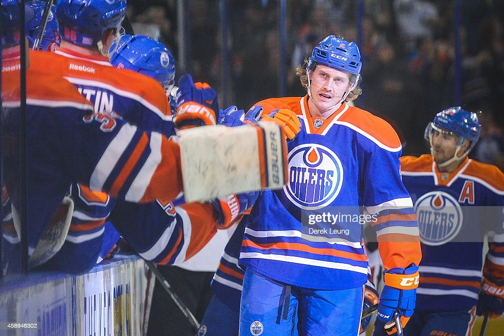 Jeff Petry of the Edmonton Oilers celebrates the gametying goal against the Ottawa Senators to force overtime during an NHL game at Rexall Place on...