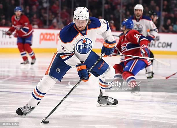 Jeff Petry of the Edmonton Oilers controls the puck against the Montreal Canadiens in the NHL game at the Bell Centre on February 12 2015 in Montreal...