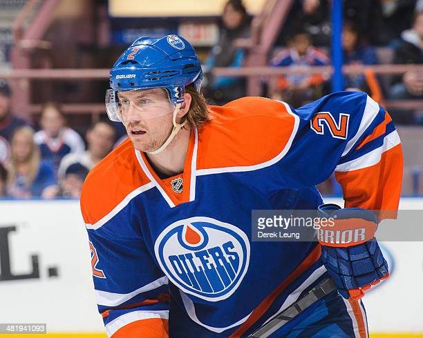 Jeff Petry of the Edmonton Oilers in action against the New York Rangers during an NHL game at Rexall Place on March 30 2014 in Edmonton Alberta...
