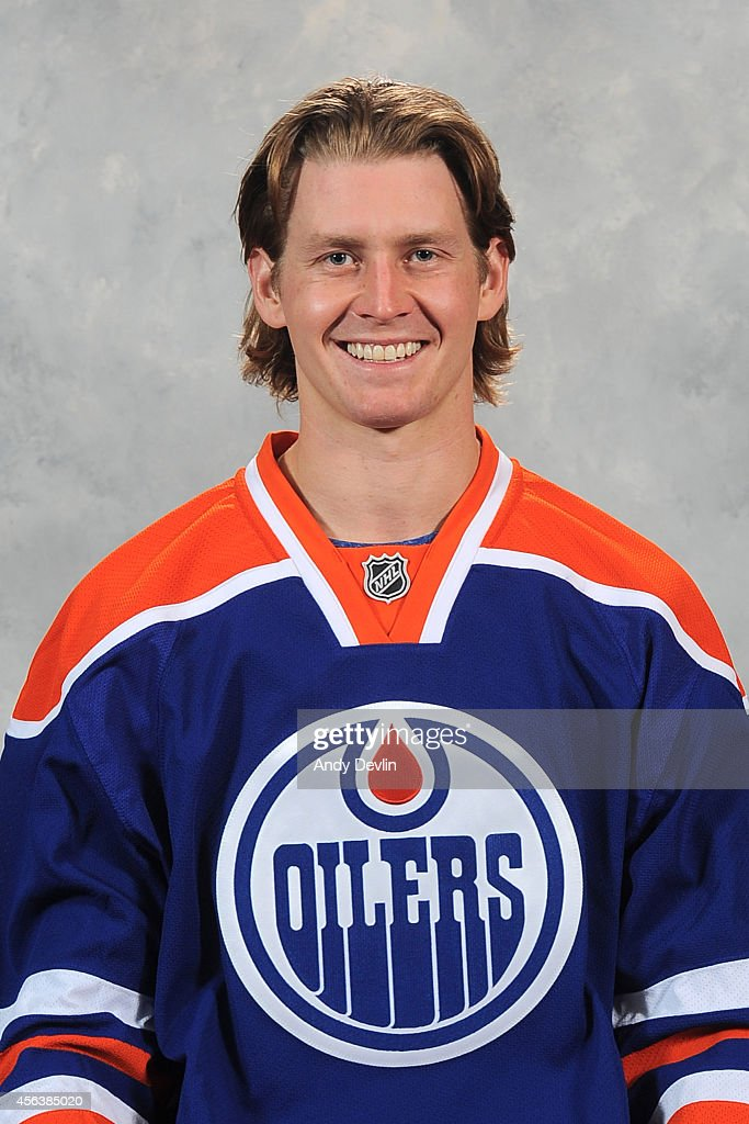 Jeff Petry of the Edmonton Oilers poses for his official headshot for the 20142015 season on September 18 2014 at the Rexall Place in Edmonton...