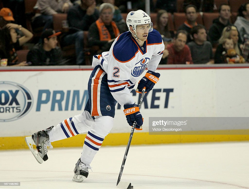 <a gi-track='captionPersonalityLinkClicked' href=/galleries/search?phrase=Jeff+Petry&family=editorial&specificpeople=570439 ng-click='$event.stopPropagation()'>Jeff Petry</a> #2 of the Edmonton Oilers skates during the NHL game against the Anaheim Ducks at Honda Center on April 8, 2013 in Anaheim, California. The Ducks defeated the Oilers 2-1.