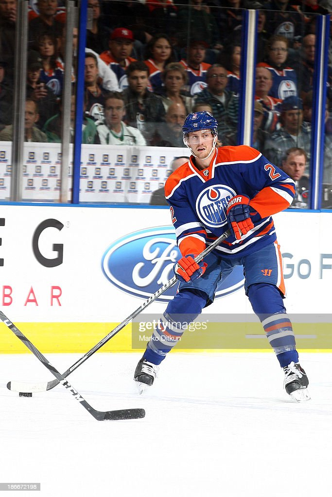 <a gi-track='captionPersonalityLinkClicked' href=/galleries/search?phrase=Jeff+Petry&family=editorial&specificpeople=570439 ng-click='$event.stopPropagation()'>Jeff Petry</a> #2 of the Edmonton Oilers skates on the ice in a game against the Detroit Red Wings on November 2, 2013 at Rexall Place in Edmonton, Alberta, Canada.