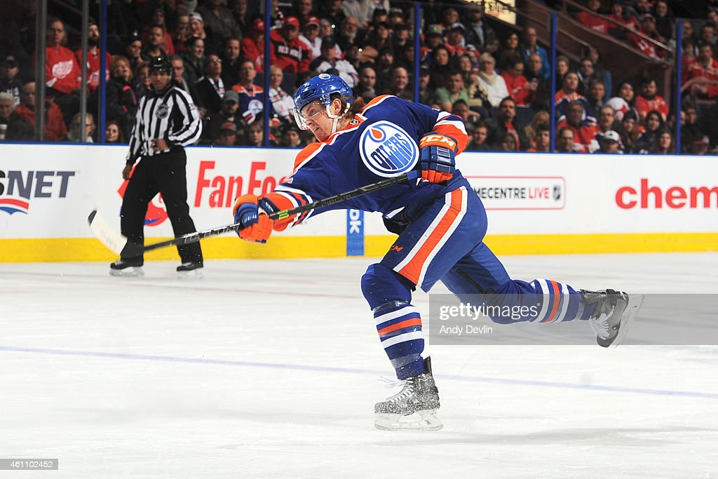 Jeff Petry of the Edmonton Oilers takes a shot during the game against the Detroit Red Wings on January 6 2015 at Rexall Place in Edmonton Alberta...