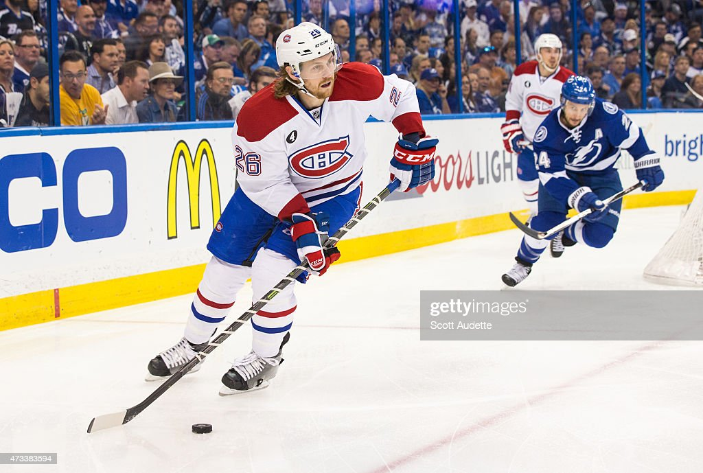Jeff Petry of the Montreal Canadiens against the Tampa Bay Lightning in Game Four of the Eastern Conference Semifinals during the 2015 NHL Stanley...