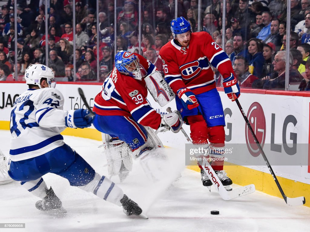 Jeff Petry #26 of the Montreal Canadiens bumps into goaltender Charlie Lindgren #39 against the Toronto Maple Leafs during the NHL game at the Bell Centre on November 18, 2017 in Montreal, Quebec, Canada. The Toronto Maple Leafs defeated the Montreal Canadiens 6-0.