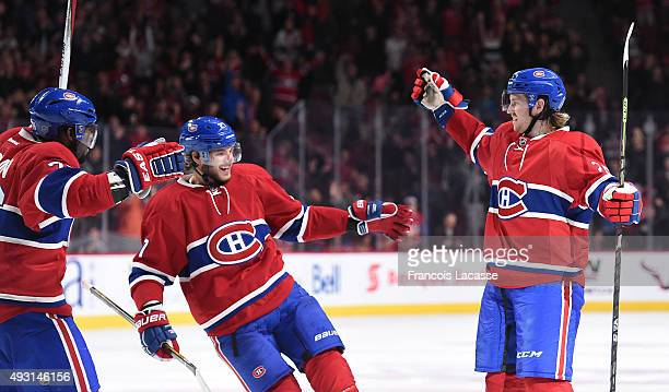 Jeff Petry of the Montreal Canadiens celebrates after scoring a goal against the Detroit Red Wings in the NHL game at the Bell Centre on October 17...