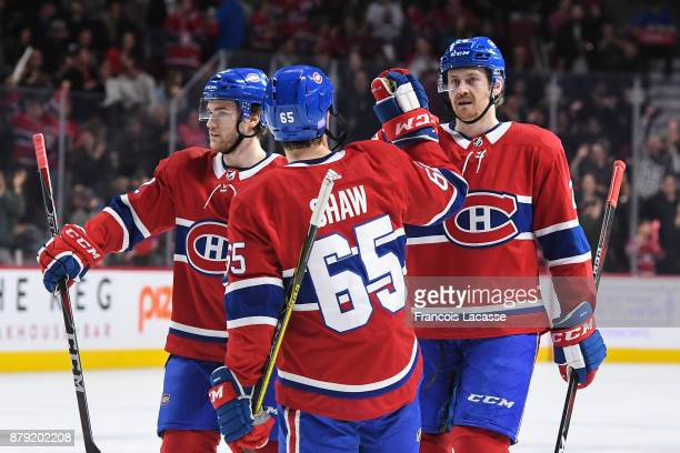 Jeff Petry of the Montreal Canadiens celebrates after scoring a goal against the Buffalo Sabres in the NHL game at the Bell Centre on November 25...