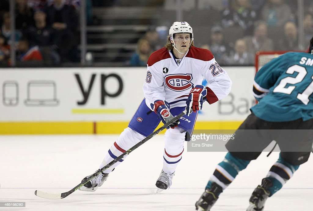 Jeff Petry of the Montreal Canadiens in action against the San Jose Sharks at SAP Center on March 2 2015 in San Jose California Petry was traded to...