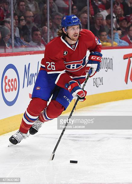 Jeff Petry of the Montreal Canadiens looks to pass the puck against the Tampa Bay Lightning in Game Five of the Eastern Conference Semifinals during...