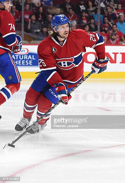 Jeff Petry of the Montreal Canadiens looks to pass the puck against the Tampa Bay Lightning in Game 2 of the Eastern Conference Semifinals during the...