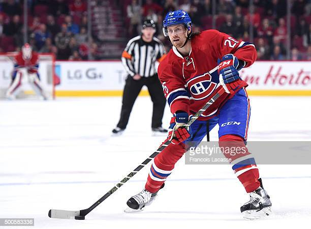 Jeff Petry of the Montreal Canadiens looks to pass the puck against the Columbus Blue Jackets in the NHL game at the Bell Centre on December 1 2015...