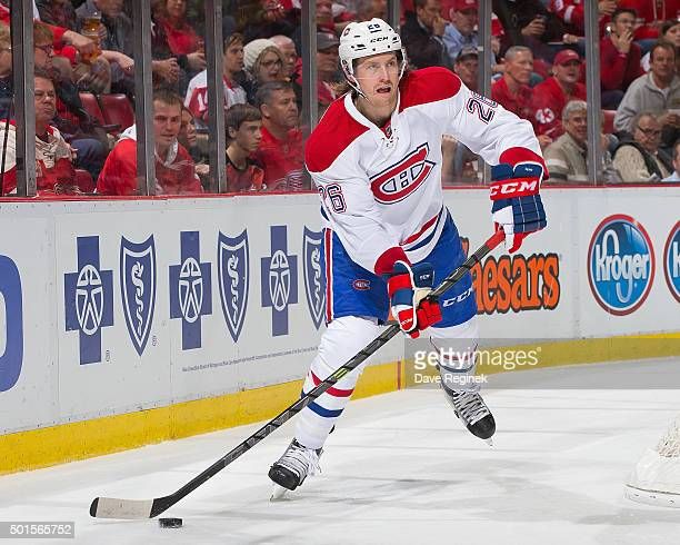Jeff Petry of the Montreal Canadiens looks to pass the puck during an NHL game against the Detroit Red Wings at Joe Louis Arena on December 10 2015...
