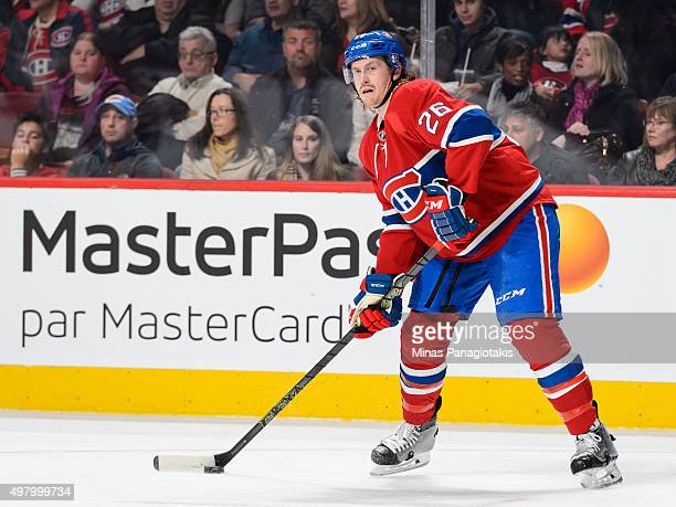 Jeff Petry of the Montreal Canadiens looks to play the puck during the NHL game against the Vancouver Canucks at the Bell Centre on November 16 2015...