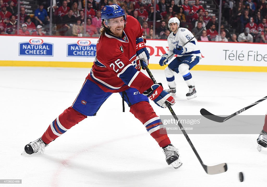 Jeff Petry of the Montreal Canadiens passes the puck against the Tampa Bay Lightning in Game Five of the Eastern Conference Semifinals during the...