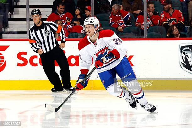 Jeff Petry of the Montreal Canadiens skates against the Calgary Flames during an NHL game at Scotiabank Saddledome on October 30 2015 in Calgary...