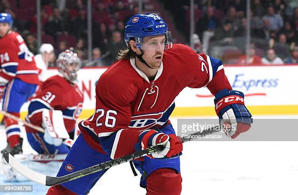 Jeff Petry of the Montreal Canadiens skates against the Detroit Red Wings in the NHL game at the Bell Centre on October 17 2015 in Montreal Quebec...