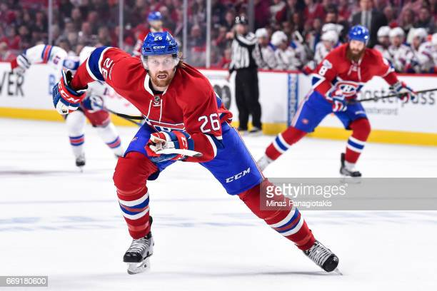 Jeff Petry of the Montreal Canadiens skates against the New York Rangers in Game Two of the Eastern Conference First Round during the 2017 NHL...