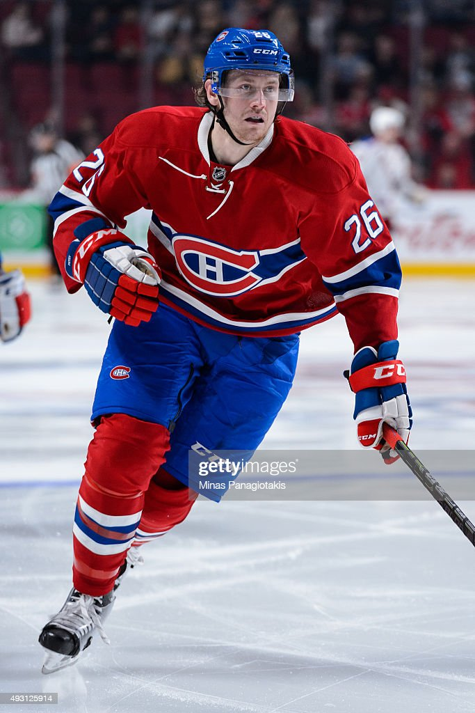 Jeff Petry of the Montreal Canadiens skates during the NHL game against the New York Rangers at the Bell Centre on October 15 2015 in Montreal Quebec...
