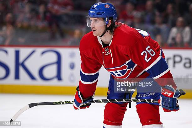 Jeff Petry of the Montreal Canadiens takes a rest in the NHL game against the New York Islanders at the Bell Centre on November 22 2015 in Montreal...