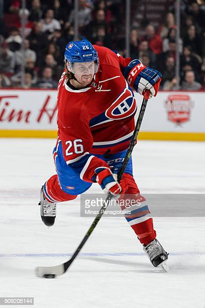 Jeff Petry of the Montreal Canadiens takes a shot during the NHL game against the Edmonton Oilers at the Bell Centre on February 6 2016 in Montreal...