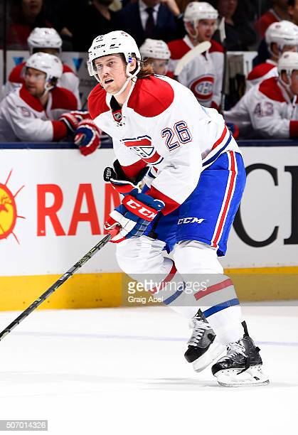 Jeff Petry of the Montreal Canadiens turns up ice against the Toronto Maple Leafs during game action on January 23 2016 at Air Canada Centre in...