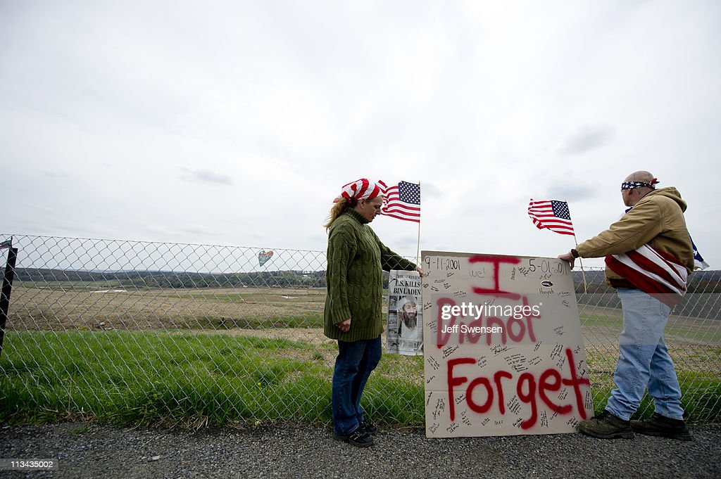 Jeff Ray and his wife, Barbara, of Shanksville, Pa look over the crash site of Flight 93 following the announcement that Osama Bin Laden had been killed in Pakistan May 2, 2011 in Shanksville, Pennsylvania. Nearly 10 years after September 11, 2001 construction is underway to erect a formal memorial at the crash site. Last night U.S. President Barack Obama announced that the United States had killed the most-wanted terrorist Osama Bin Laden in an operation led by U.S. Special Forces in a compound in Abbottabad, Pakistan.