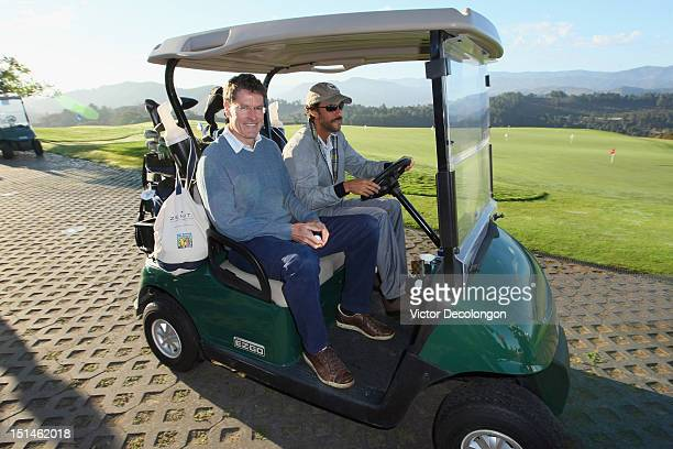 Jeff Records and Ben Silverman leave for their starting tee at the Golf Challenge celebrating the Best Buddies Challenge Hearst Castle at Tehama Golf...