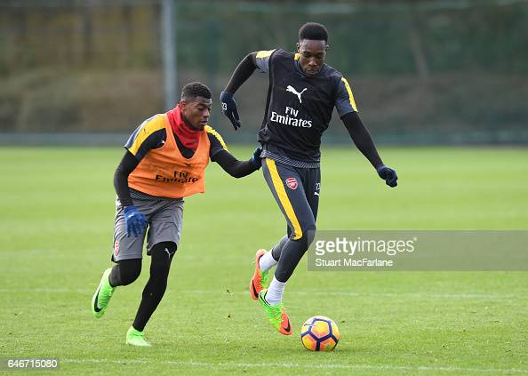 Jeff ReineAdelaide and Danny Welbeck of Arsenal during a training session at London Colney on March 1 2017 in St Albans England