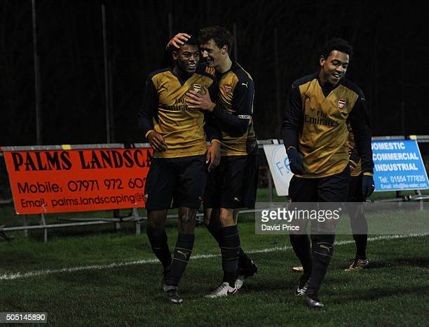 Jeff ReineAdelaide celebrates scoring Arsenal's 2nd goal with Krystian Bielik during the match between Swansea U18 and Arsenal U18 at Stebonheath...