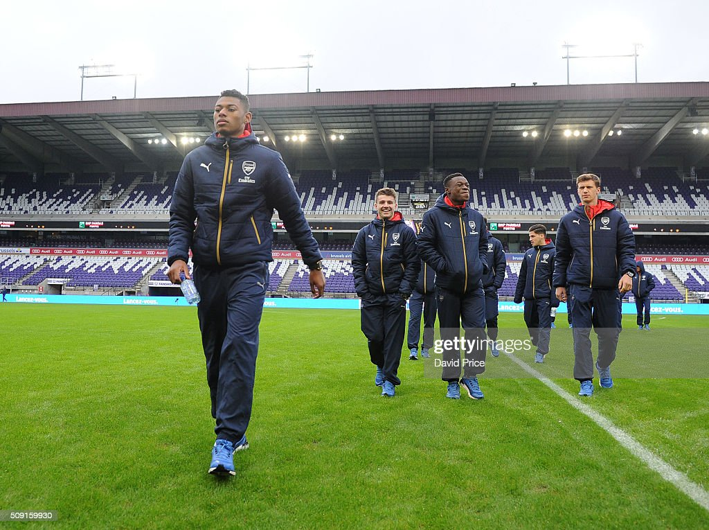 Jeff Reine-Adelaide of Arsenal checks out the stadium before the match between Anderlecht and Arsenal at Constant Vanden Stock Stadium on February 9, 2016 in Brussels, Bruxelles-Capitale, Region de.