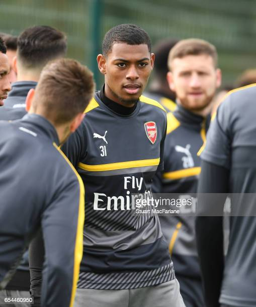 Jeff ReineAdelaide of Arsenal during a training session at London Colney on March 17 2017 in St Albans England