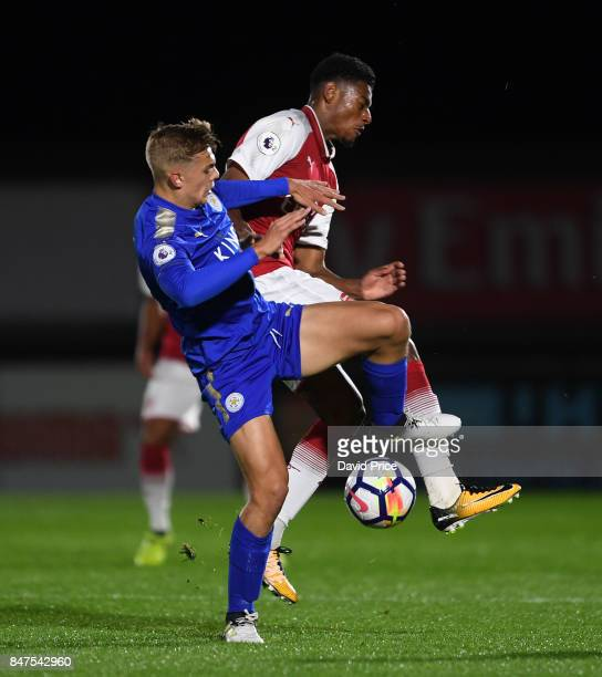 Jeff ReineAdelaide of Arsenal is challenged by Josh Knight of Leicester during the match between Arsenal U23 and Leicester City U23 at Meadow Park on...