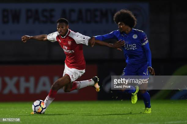 Jeff ReineAdelaide of Arsenal takes on Hamza Choudhury of Leicester during the match between Arsenal U23 and Leicester City U23 at Meadow Park on...