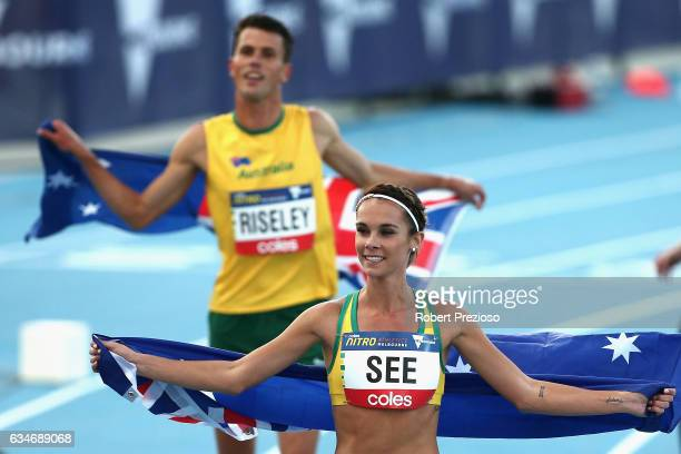 Jeff Riseley of Australia and Heidi See of Australia thank fans after competing in the mixed 3 minute challenge during the Melbourne Nitro Athletics...