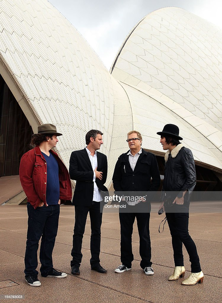 Jeff Ross,Adam Hills, Drew Carey and Noel Fielding pose during the 'Just For Laughs' Sydney Media Call at Sydney Opera House on October 18, 2012 in Sydney, Australia.
