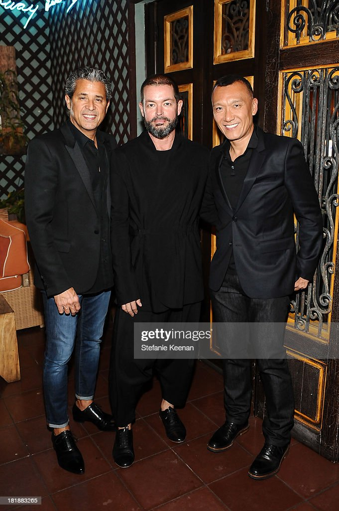 Jeff Rudes, Donald Oliver and Joe Zee attend an intimate dinner event hosted by Elle magazine and J Brand at Petit Ermitage Hotel on September 25, 2013 in West Hollywood, California.