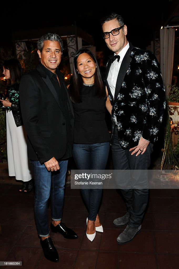 Jeff Rudes, Marcy Medina and Cameron Silver attend an intimate dinner event hosted by Elle magazine and J Brand at Petit Ermitage Hotel on September 25, 2013 in West Hollywood, California.
