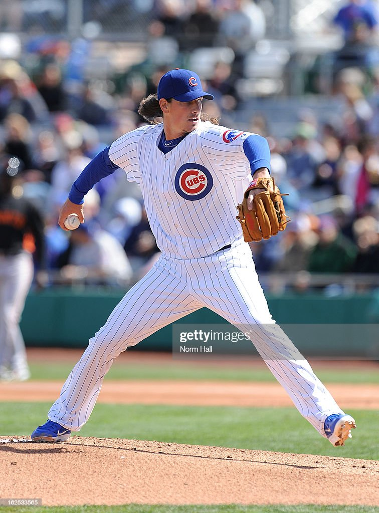 <a gi-track='captionPersonalityLinkClicked' href=/galleries/search?phrase=Jeff+Samardzija&family=editorial&specificpeople=2106748 ng-click='$event.stopPropagation()'>Jeff Samardzija</a> #29 of the Chicago Cubs delivers a pitch against the San Francisco Giants at HoHoKam Park on February 24, 2013 in Mesa, Arizona.