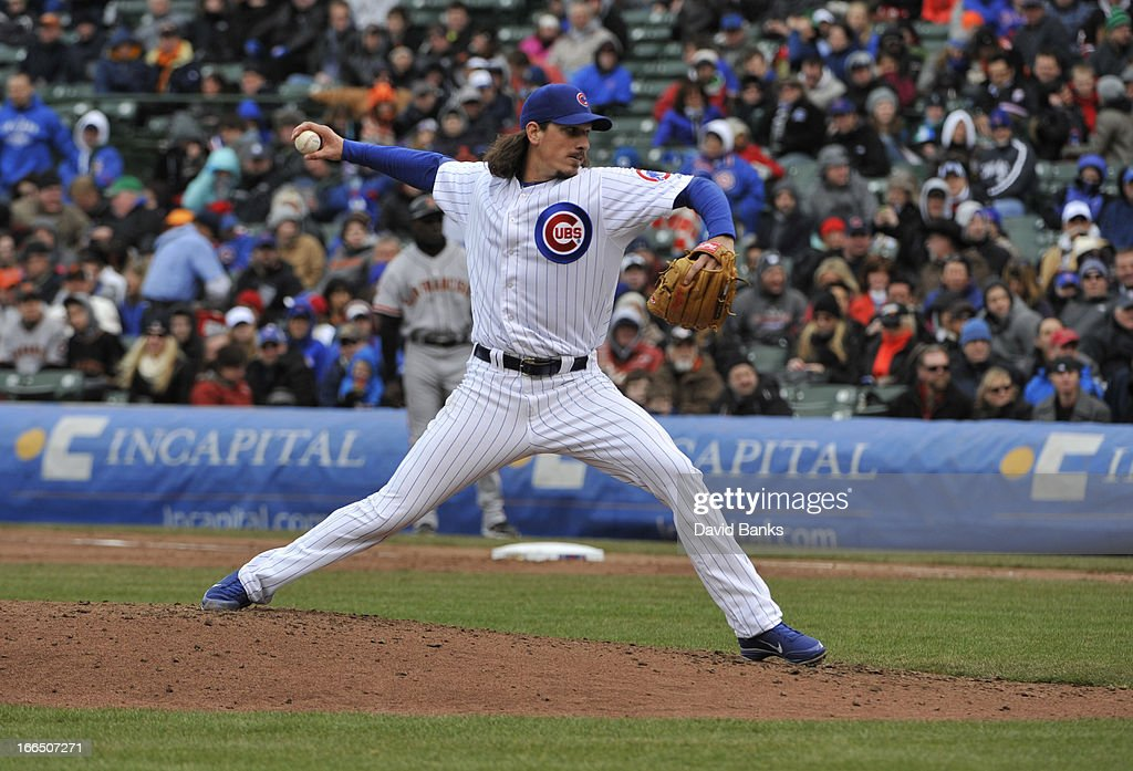 <a gi-track='captionPersonalityLinkClicked' href=/galleries/search?phrase=Jeff+Samardzija&family=editorial&specificpeople=2106748 ng-click='$event.stopPropagation()'>Jeff Samardzija</a> #29 of the Chicago Cubs pitches against the San Francisco Giants during the fifth inning on April 13, 2013 at Wrigley Field in Chicago, Illinois.