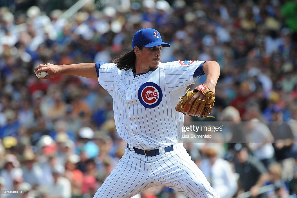 <a gi-track='captionPersonalityLinkClicked' href=/galleries/search?phrase=Jeff+Samardzija&family=editorial&specificpeople=2106748 ng-click='$event.stopPropagation()'>Jeff Samardzija</a> #29 of the Chicago Cubs pitches against the Seattle Mariners at Cubs Park on March 20, 2014 in Mesa, Arizona.